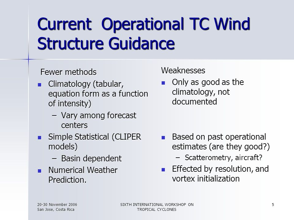 Current Operational TC Wind Structure Guidance