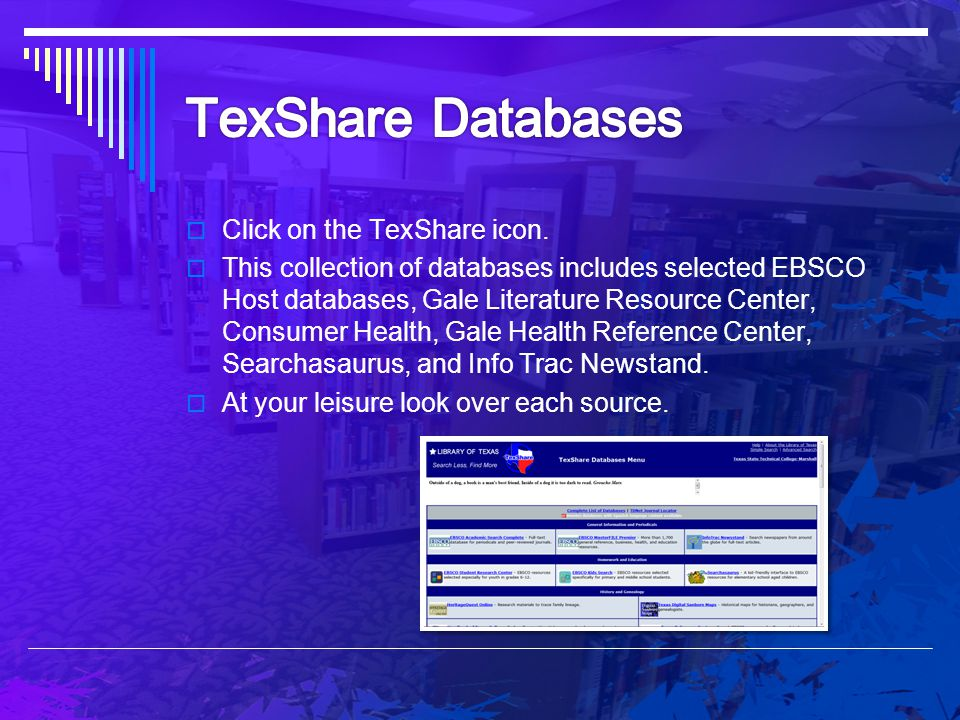 TexShare Databases Click on the TexShare icon.