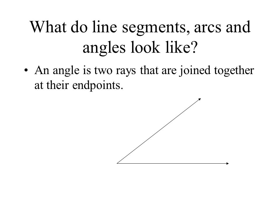 What do line segments, arcs and angles look like