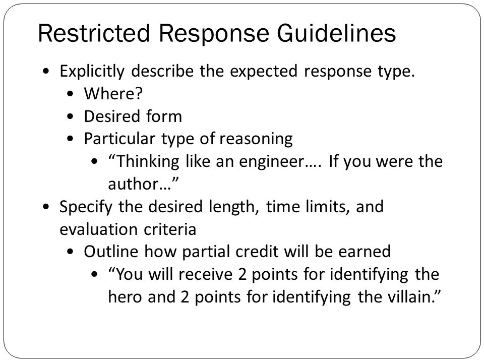 restricted response essay items Since this has been a very requested topic lately, here are my personal tips on how to answer a long answer or essay question on an exam good luck to you al.