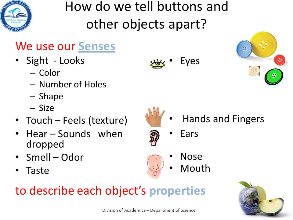 How do we tell buttons and other objects apart