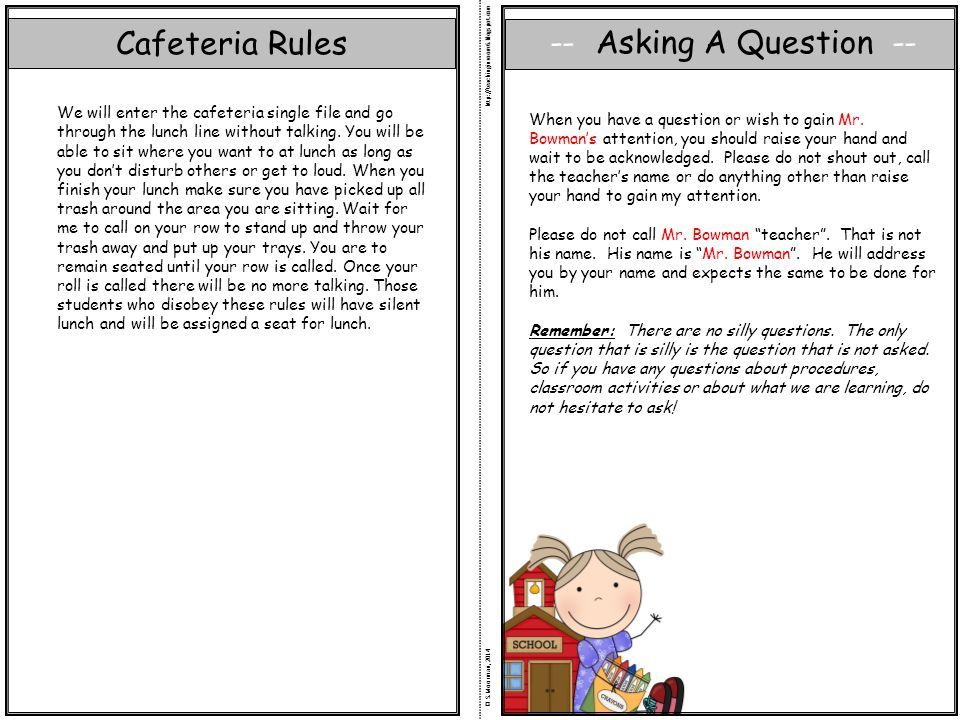 Cafeteria Rules -- Asking A Question --