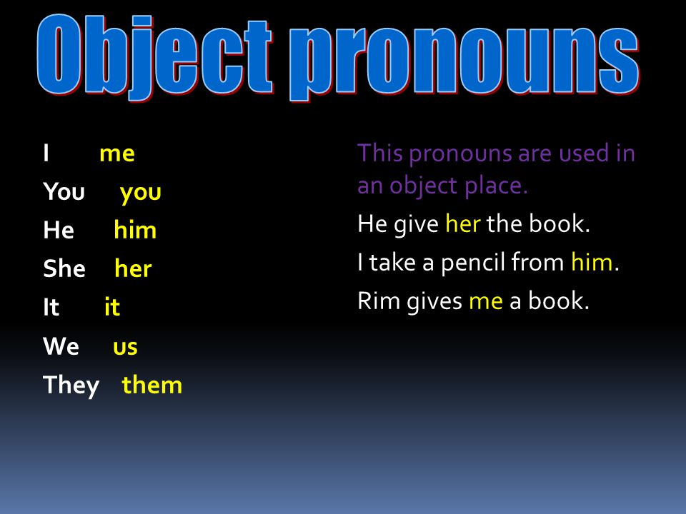 Object pronouns I me You you He him She her It it We us They them
