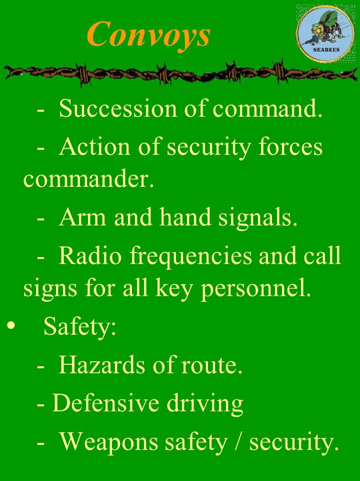 Convoys - Succession of command.