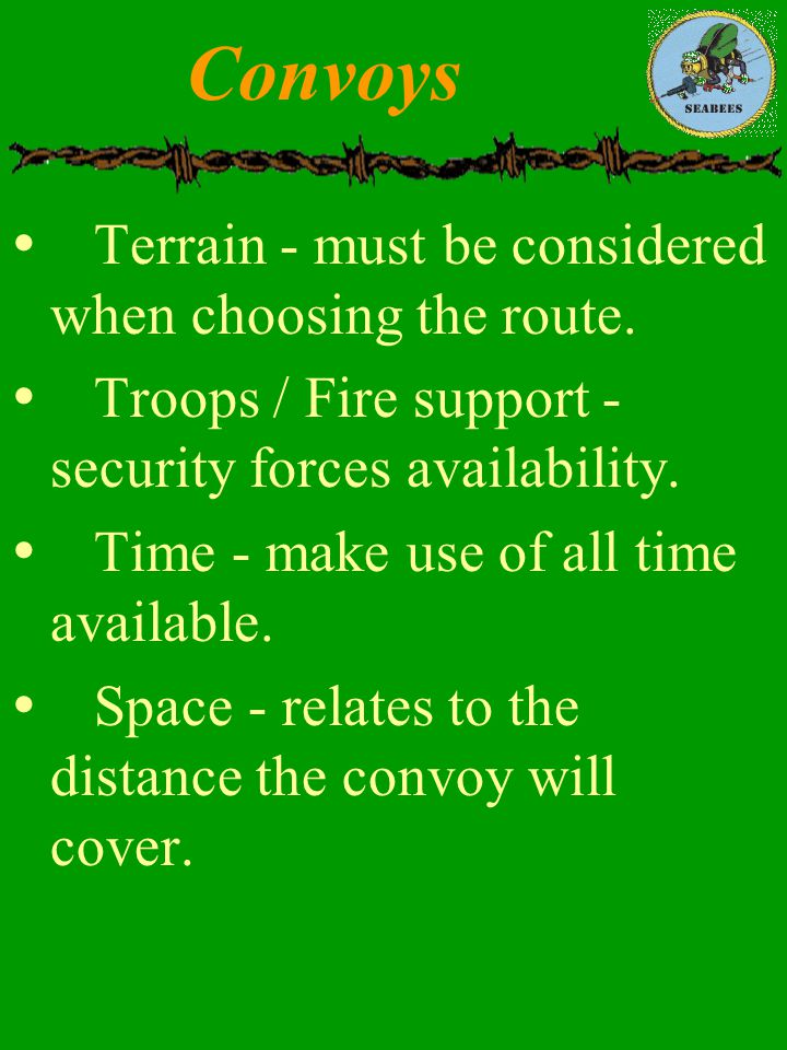 Convoys Terrain - must be considered when choosing the route.