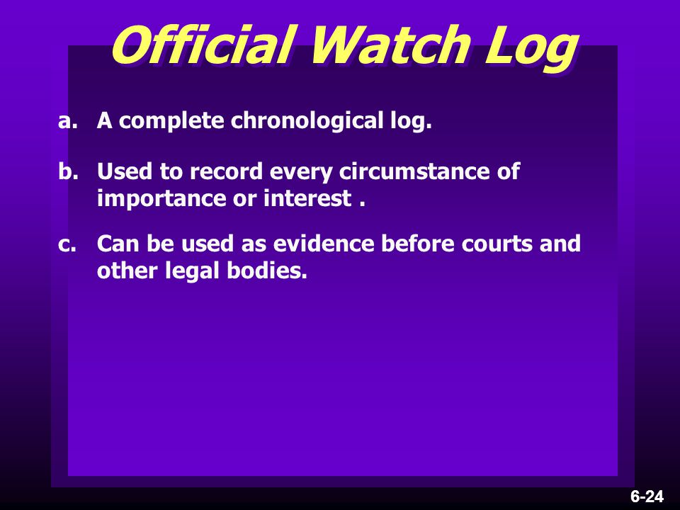 Official Watch Log a. A complete chronological log.