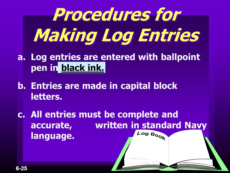 Procedures for Making Log Entries