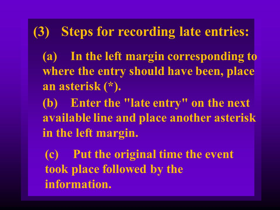 (3) Steps for recording late entries: