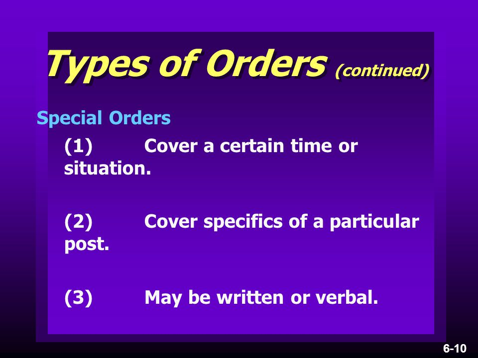 Types of Orders (continued)