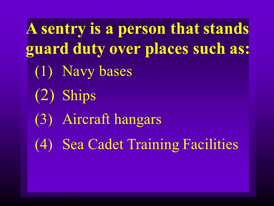 A sentry is a person that stands guard duty over places such as: