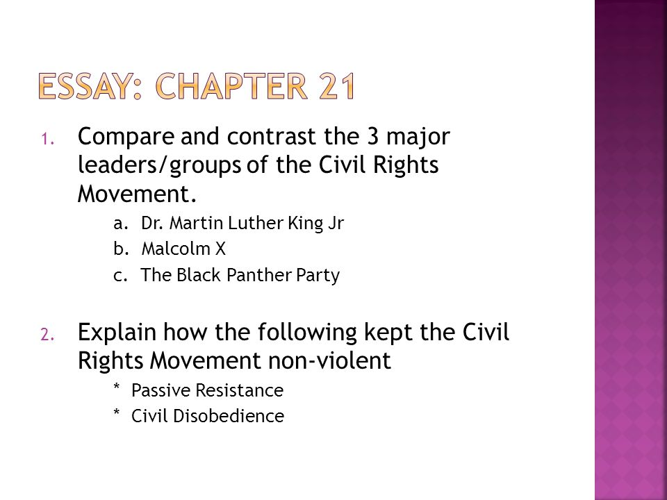 ch the civil rights movement ppt video online  23 essay chapter 21 compare and contrast the 3 major leaders groups of the civil rights movement a dr martin luther king
