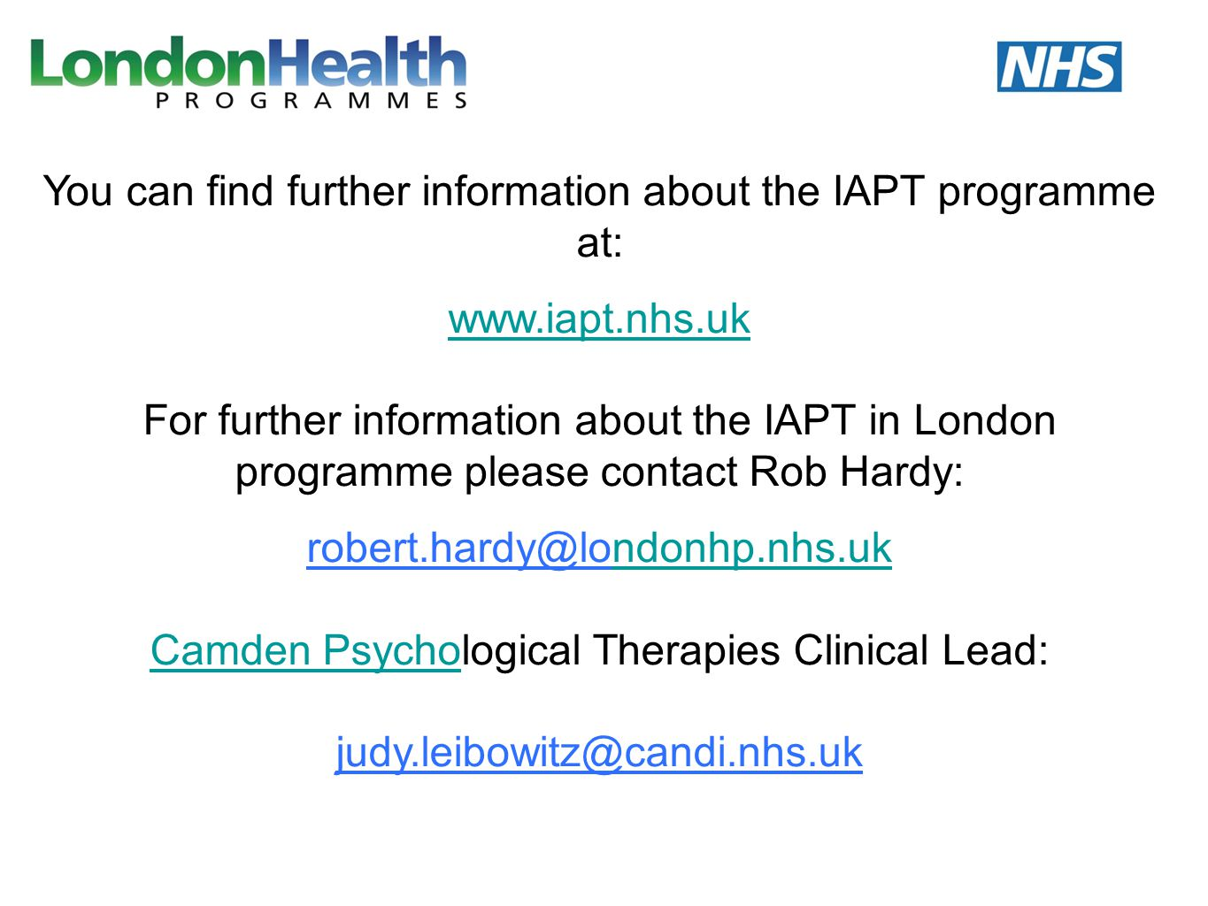 You can find further information about the IAPT programme at: