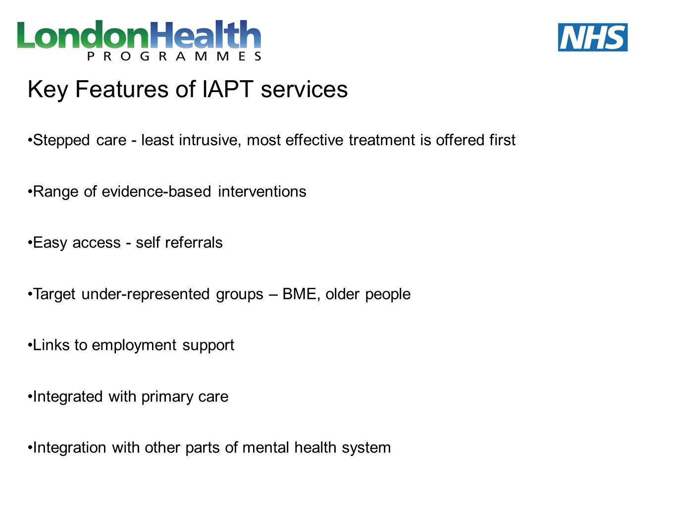 Key Features of IAPT services