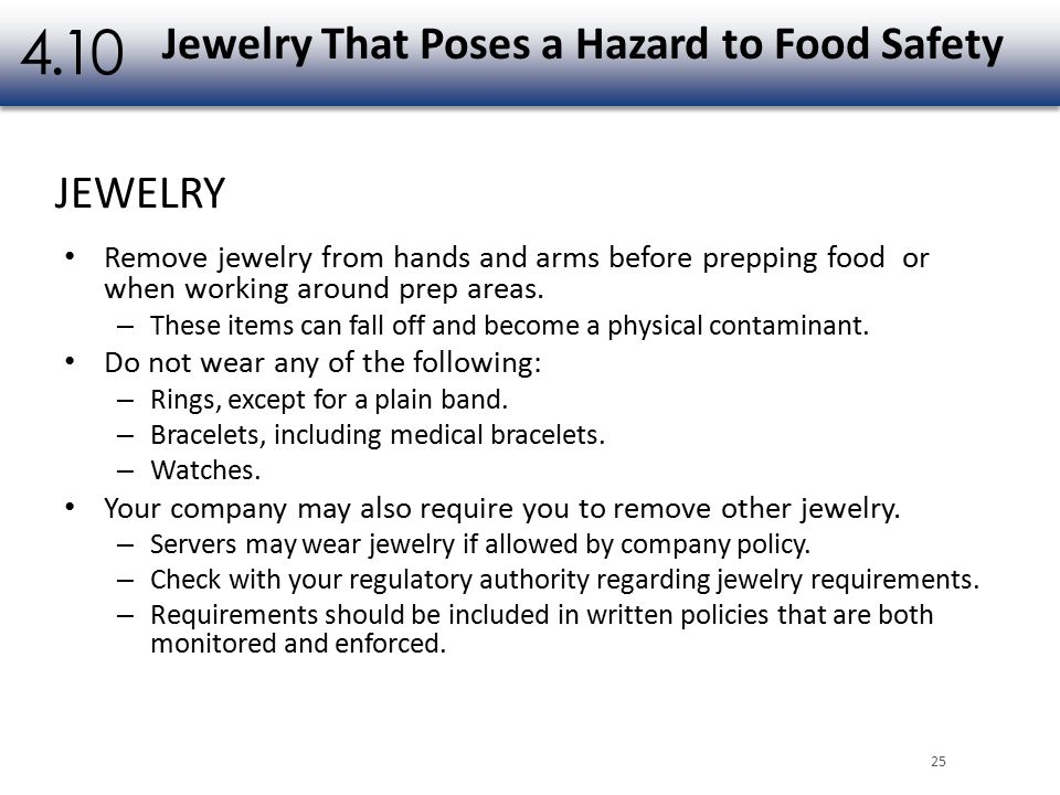 What Type Of Jewelry Can A Food Handler Wear