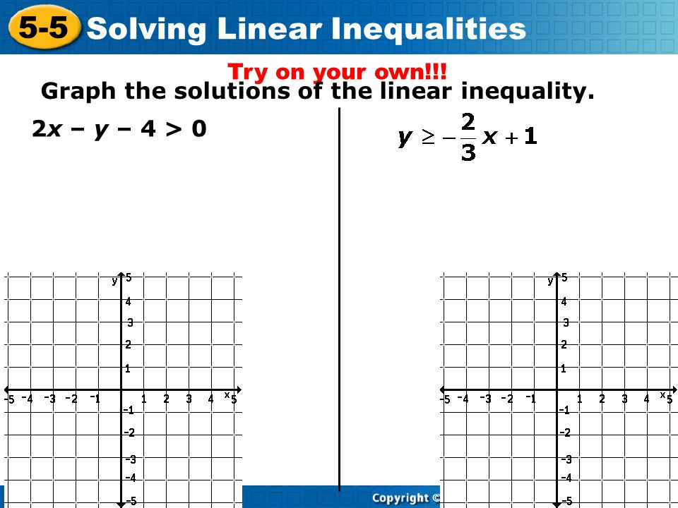 Try on your own!!! Graph the solutions of the linear inequality. 2x – y – 4 > 0