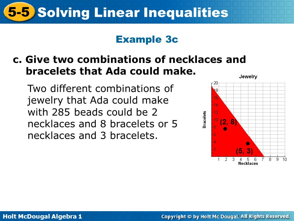 Example 3c c. Give two combinations of necklaces and bracelets that Ada could make.