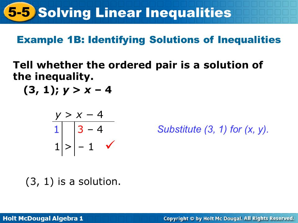 Example 1B: Identifying Solutions of Inequalities