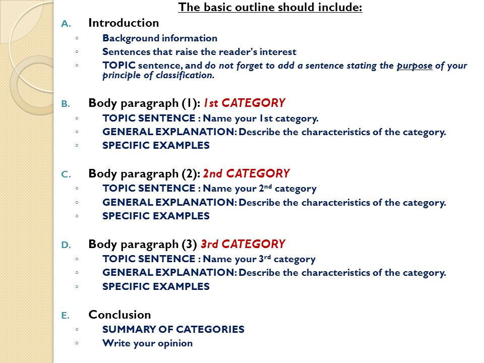Essay explanation how to write an outline for the classification