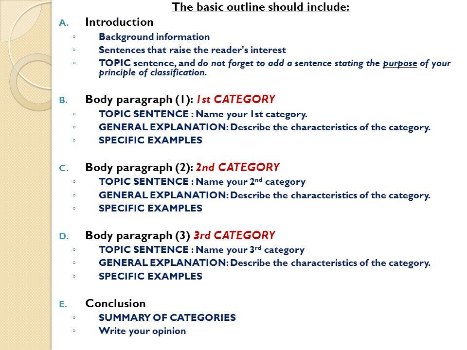 Classification essays topics