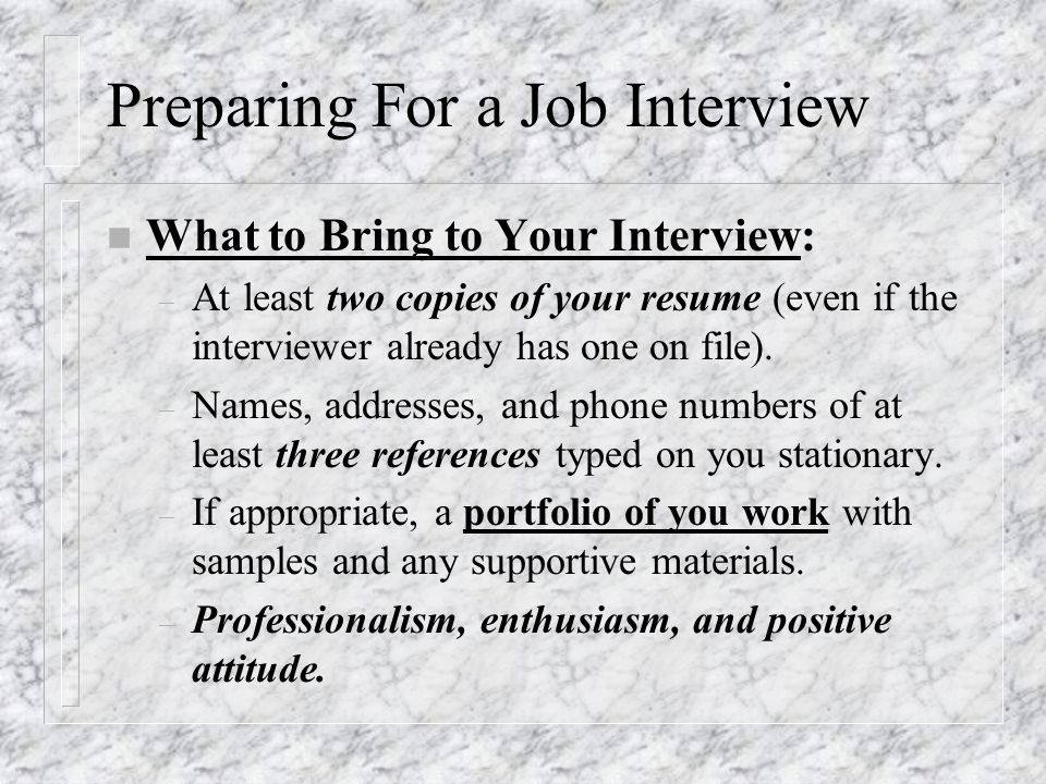 interviewing for employment and following up ppt