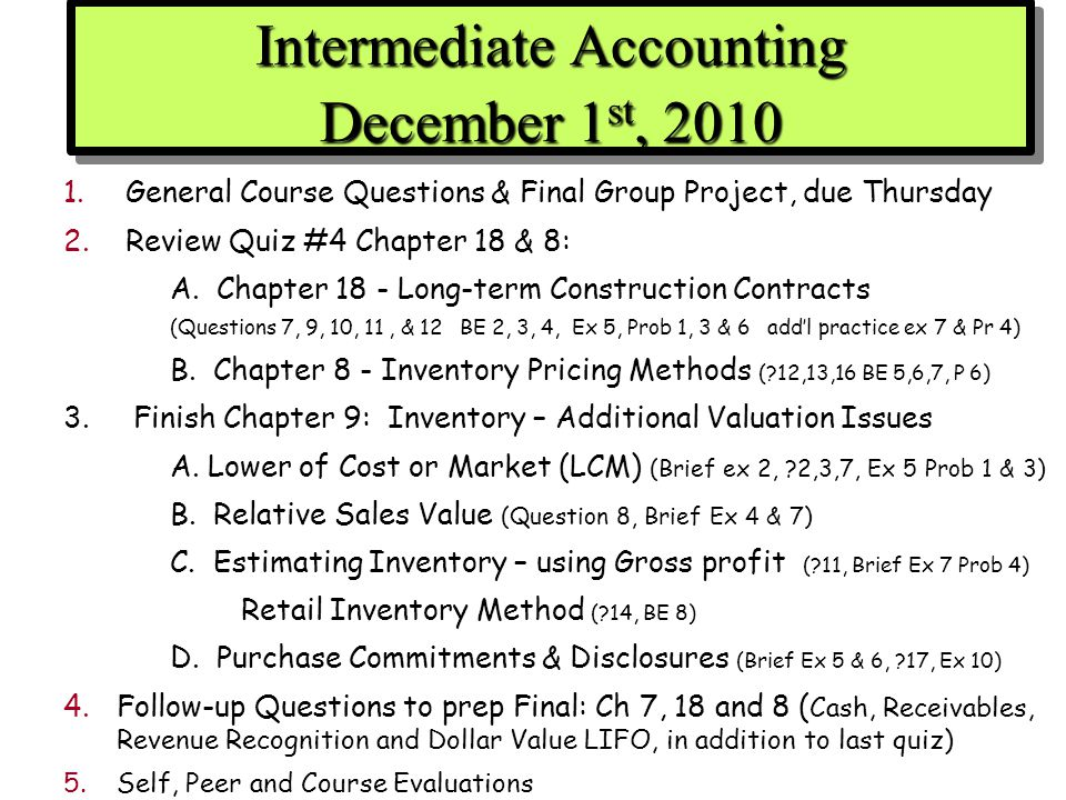 intermediate accounting 1 final review Intermediate accounting: his articles have appeared in the accounting review the test bank provides a final exam in addition to chapter tests.
