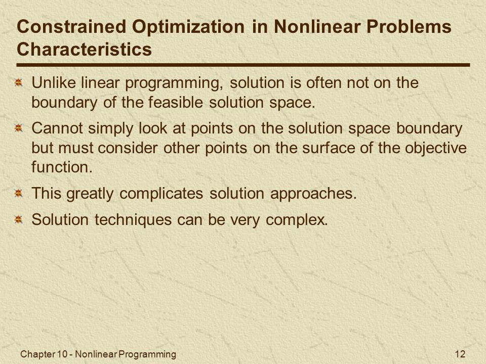 Constrained Optimization in Nonlinear Problems Characteristics