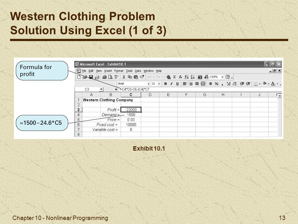 Western Clothing Problem Solution Using Excel (1 of 3)
