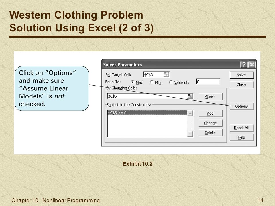 Western Clothing Problem Solution Using Excel (2 of 3)