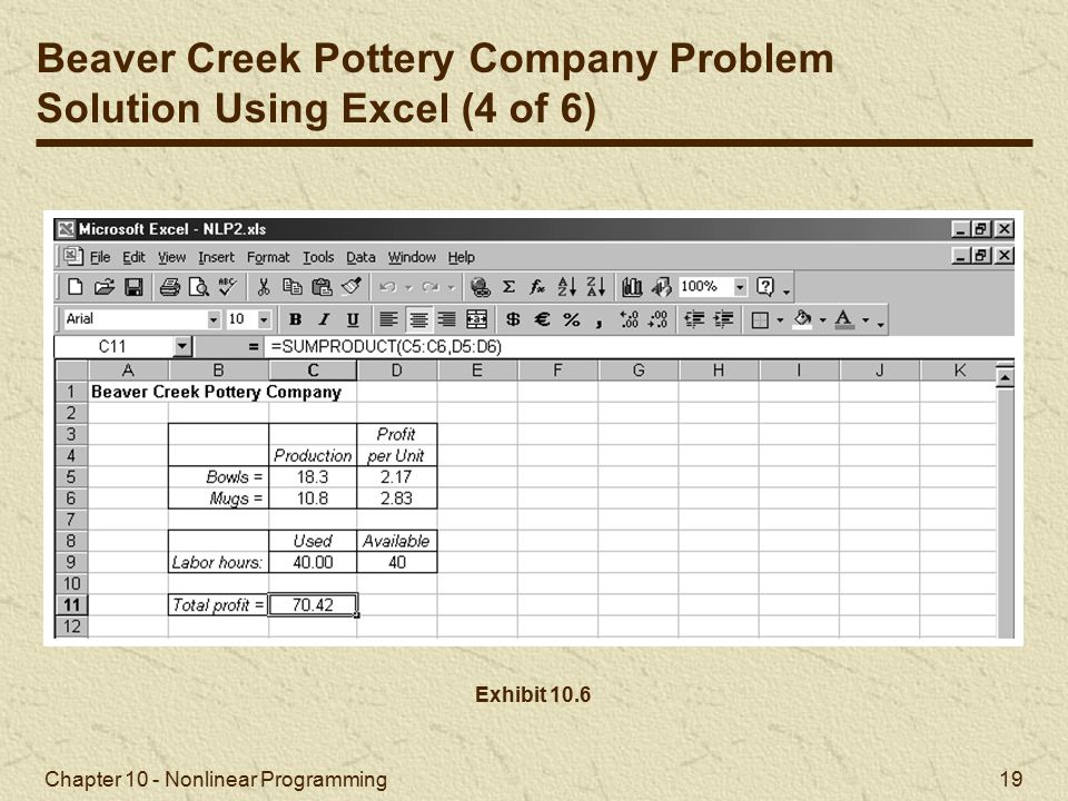 Beaver Creek Pottery Company Problem Solution Using Excel (4 of 6)