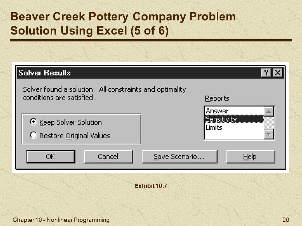 Beaver Creek Pottery Company Problem Solution Using Excel (5 of 6)