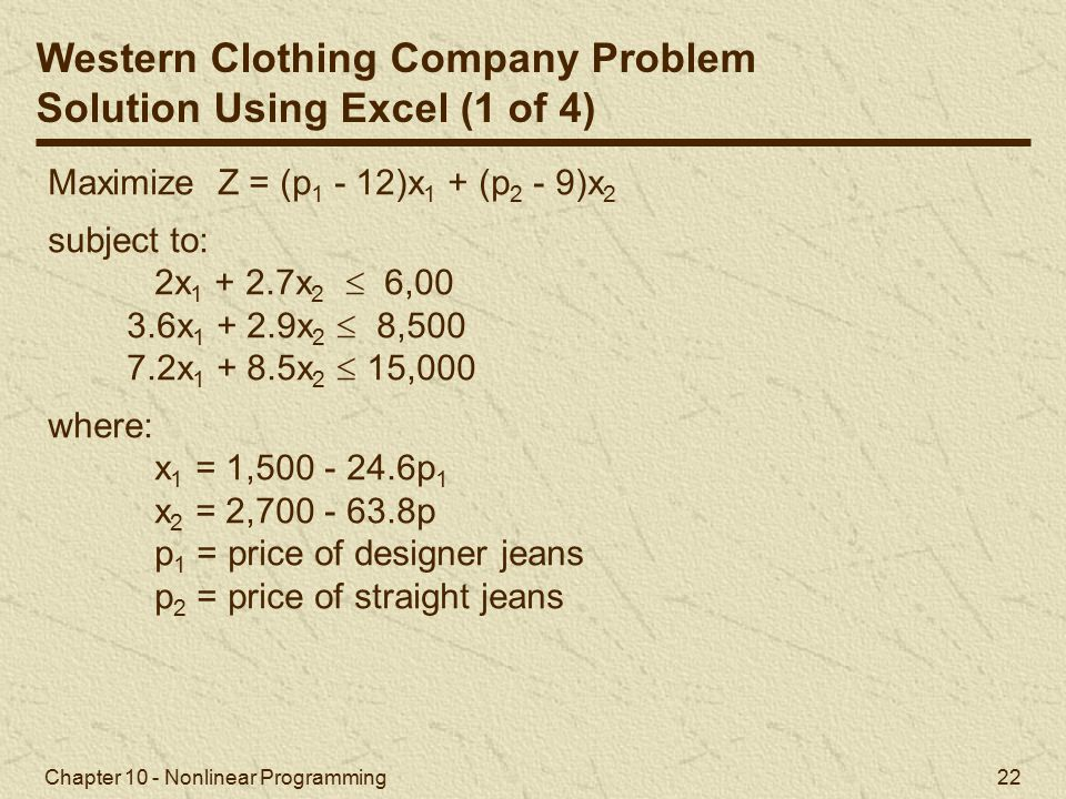 Western Clothing Company Problem Solution Using Excel (1 of 4)