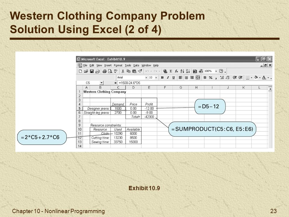 Western Clothing Company Problem Solution Using Excel (2 of 4)