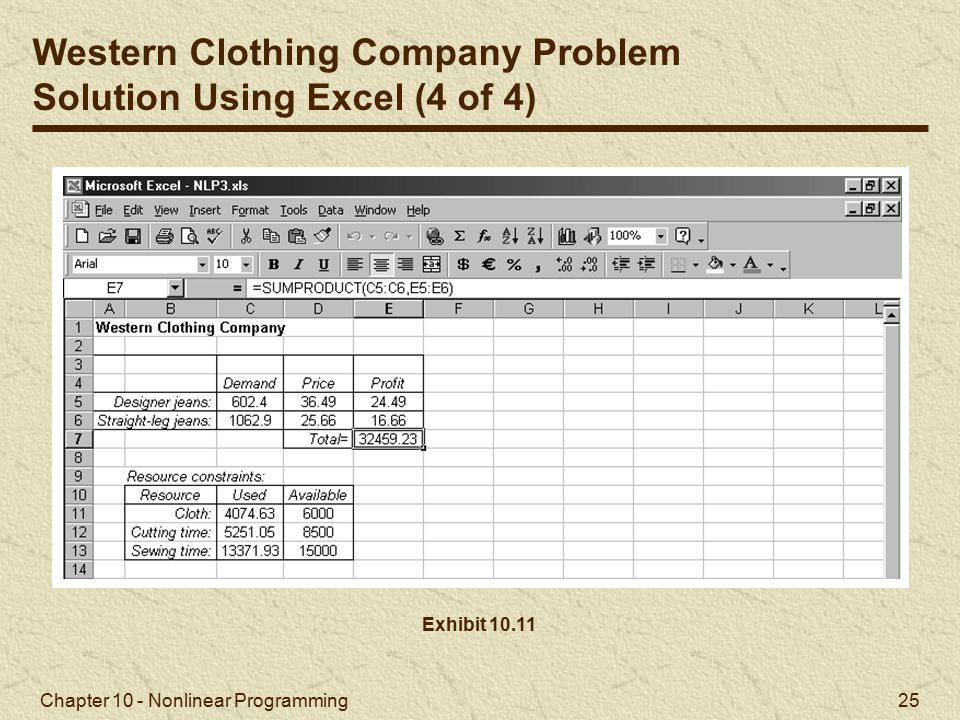Western Clothing Company Problem Solution Using Excel (4 of 4)