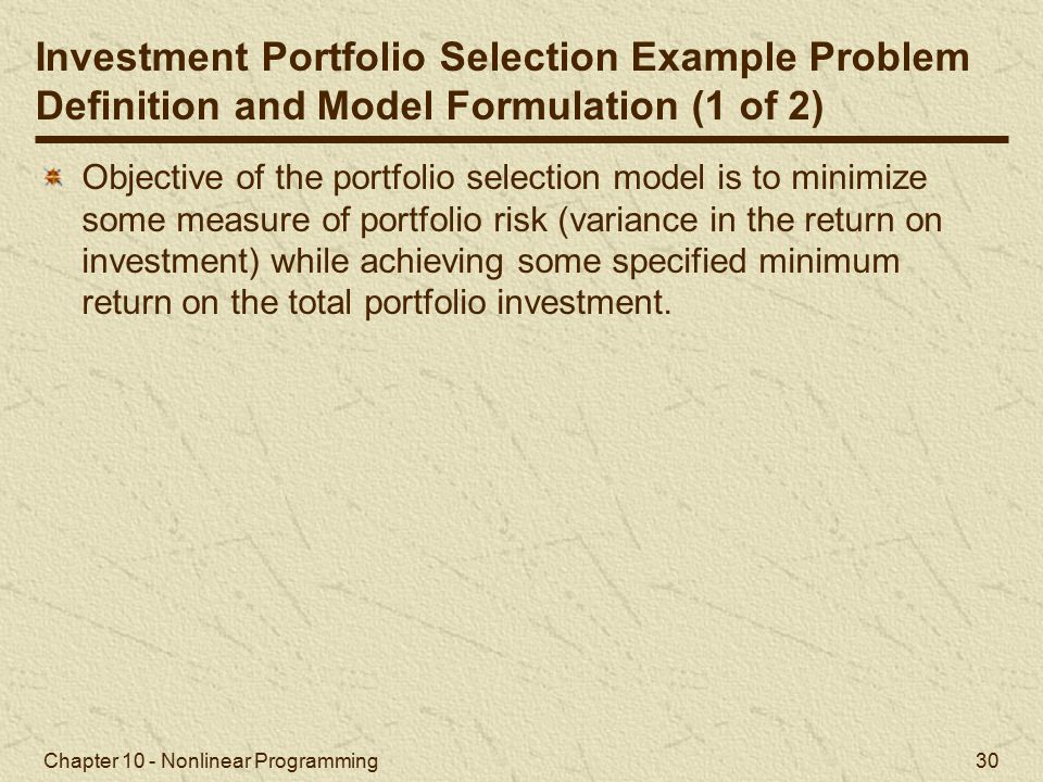 Investment Portfolio Selection Example Problem