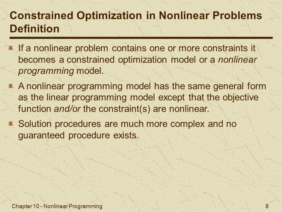Constrained Optimization in Nonlinear Problems Definition