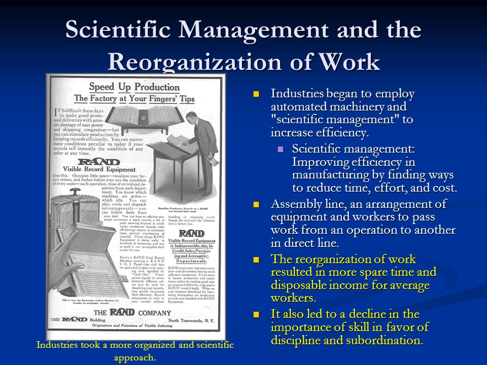 relevance of scientific management for the hospitality industry This essay discusses the taylor's scientific management and how it has  influenced the modern day business practices  in present day's industrial  processes, taylor's principles also come to play an important role taylor had.