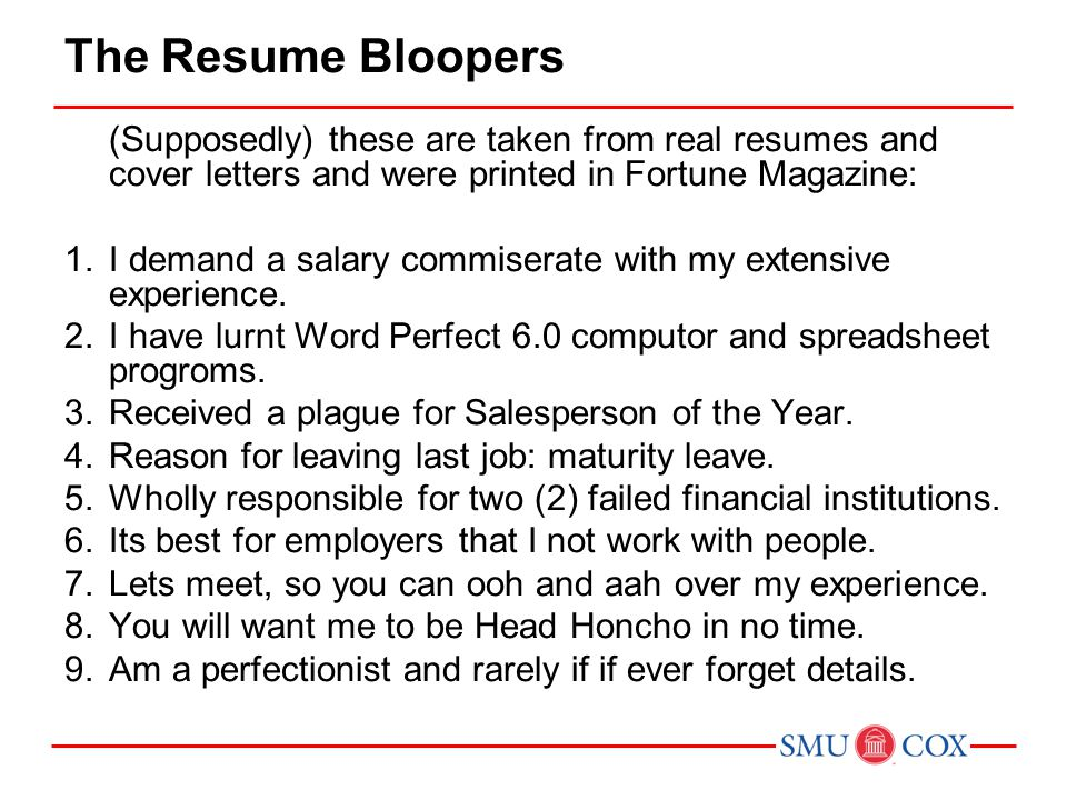 acct class 16 the resume bloopers