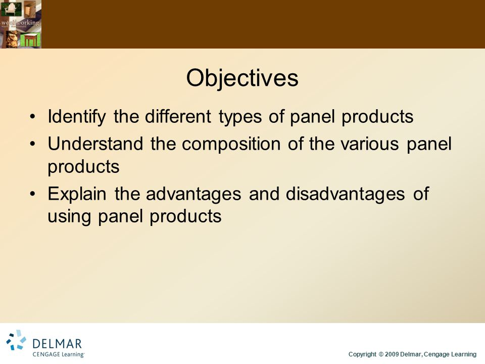 Objectives Identify the different types of panel products