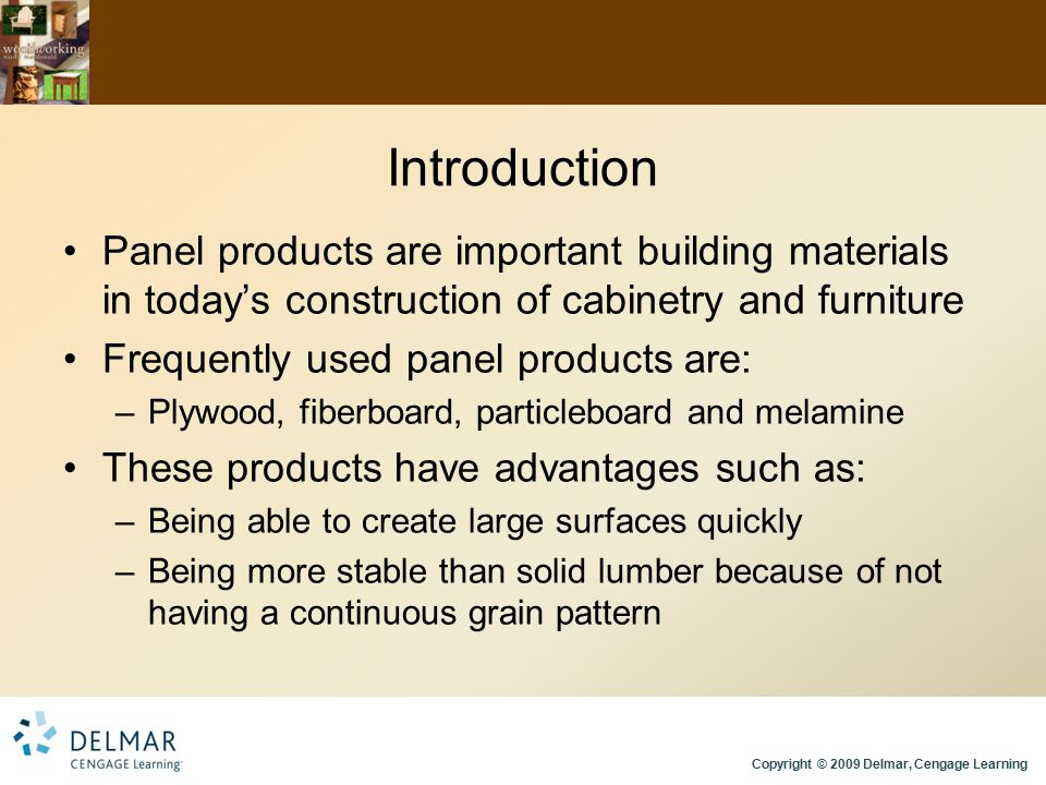 Introduction Panel products are important building materials in today's construction of cabinetry and furniture.