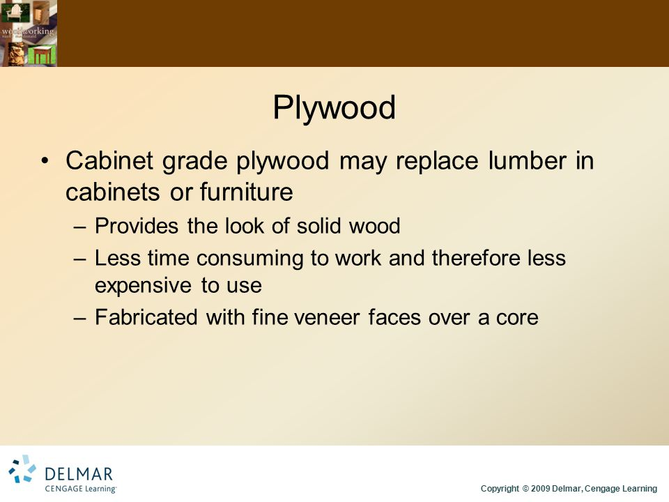 Plywood Cabinet grade plywood may replace lumber in cabinets or furniture. Provides the look of solid wood.