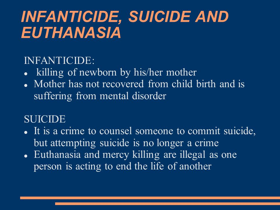 euthanasia death and murder steals life Here is an explanation of common terms used during end-of-life  death: natural or assisted  withdrawal with the intent to hasten death is euthanasia.