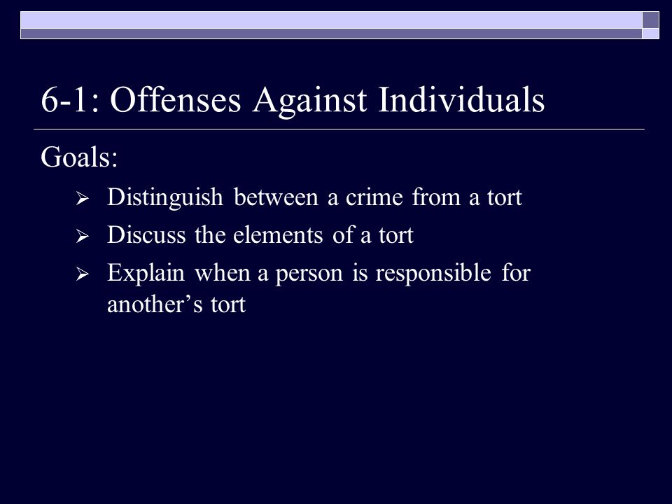 6-1: Offenses Against Individuals