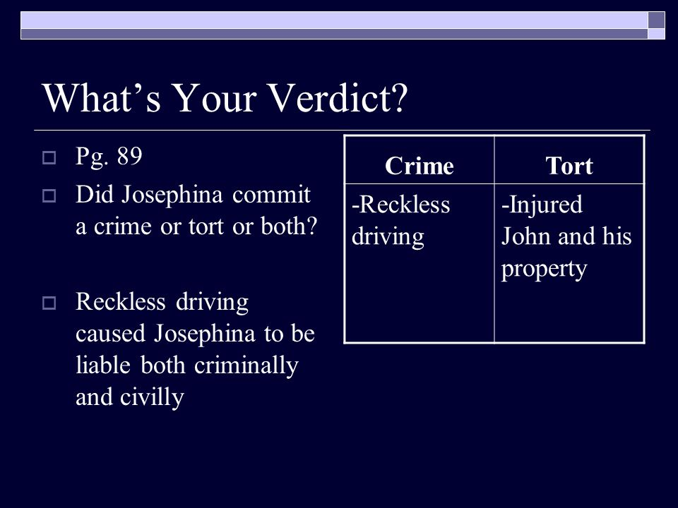 What's Your Verdict Pg. 89. Did Josephina commit a crime or tort or both
