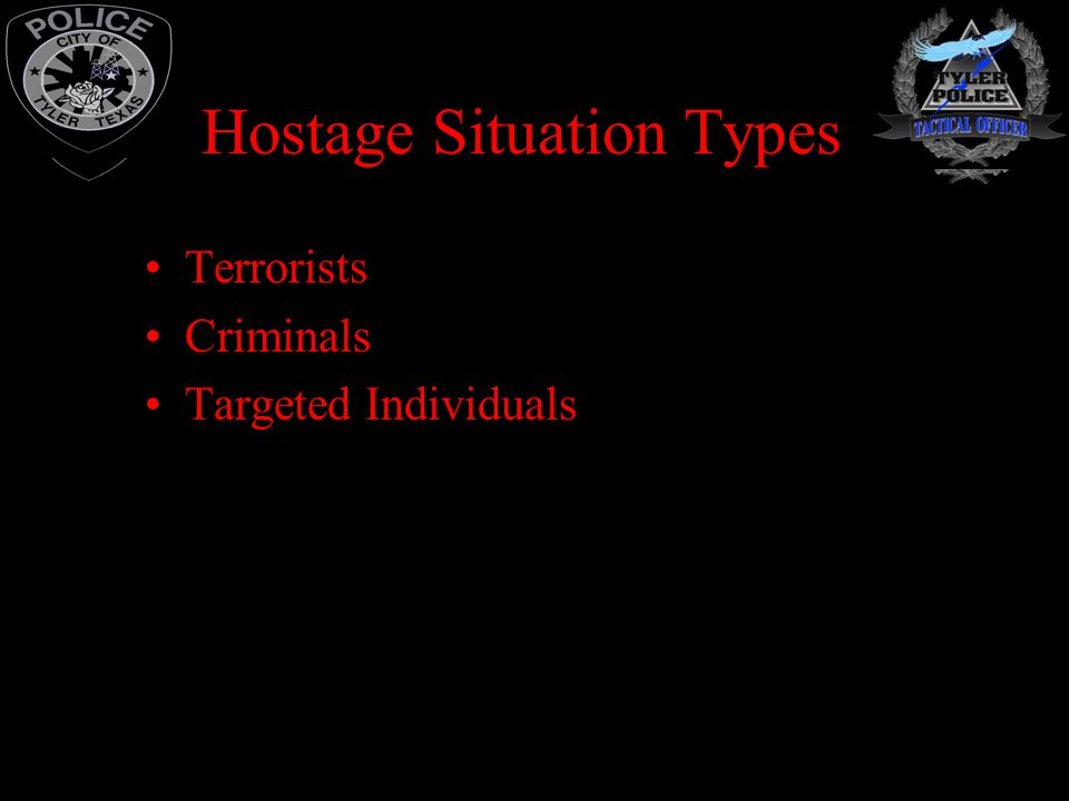 situation of terrorist hostage taking If you hear or witness a hostage situation: do not be upset, resist, or argue if a rescuer isn't sure whether you are a terrorist or a hostage.