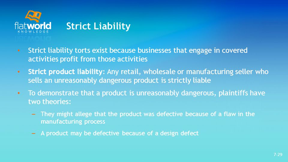 strict liability torts product liability Four tests for liability in torts on the nature of strict tort liability for products, 44 miss l j 825 four tests for liability.