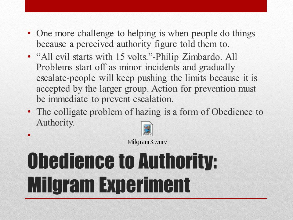 an introduction to the analysis of obedience to authority by milgram and the my lai massacre Holocaust and events such as the my lai massacre in vietnam and to investigate obedience and authority essay on the milgram experiment the.