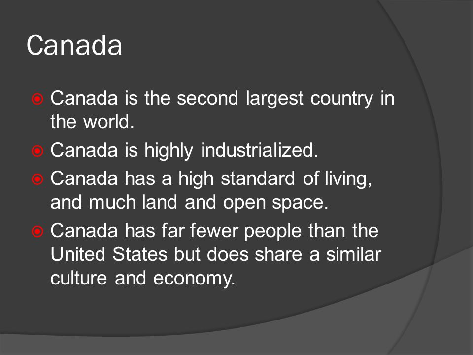 an overview of the second largest country in the world canada North america :: canada page last updated on august 14, 2018 the world  factbook × north america ::canada flag description two vertical bands of red .