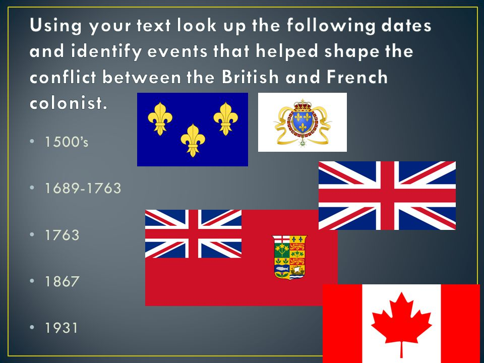Using your text look up the following dates and identify events that helped shape the conflict between the British and French colonist.