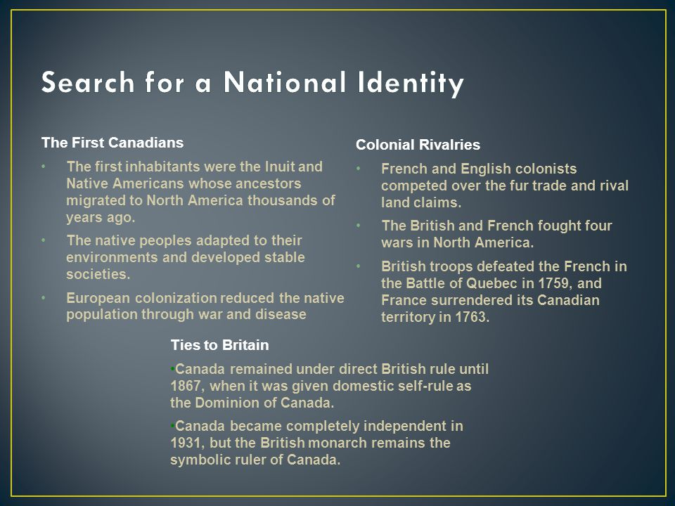 Search for a National Identity
