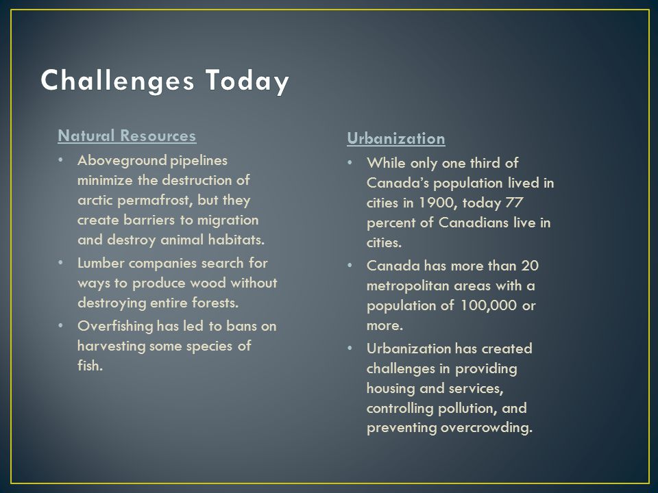 Challenges Today Natural Resources Urbanization